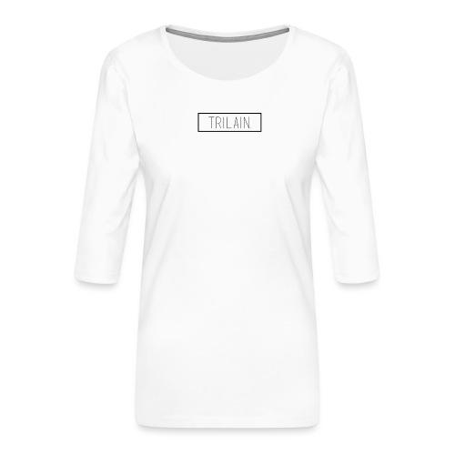 Trilain - Box Logo T - Shirt White - Vrouwen premium shirt 3/4-mouw