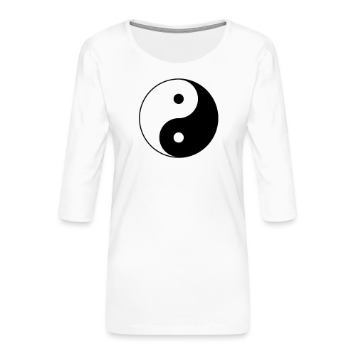 800px Yin yang svg 1 - Frauen Premium 3/4-Arm Shirt