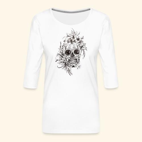 SkullDrawings - Premium-T-shirt med 3/4-ärm dam