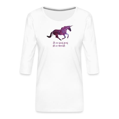 La licorne cosmique - T-shirt Premium manches 3/4 Femme