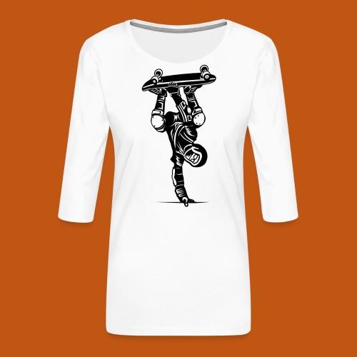 Skater / Skateboarder 02_schwarz - Frauen Premium 3/4-Arm Shirt