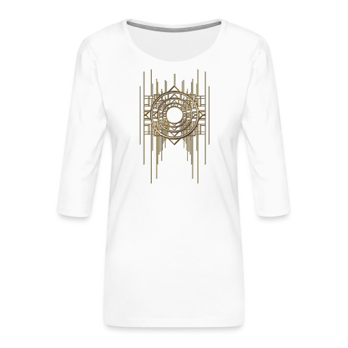 Abstract Geometry Gold Metal Art Deco Vintage - Women's Premium 3/4-Sleeve T-Shirt