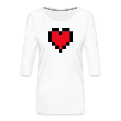 Pixel Heart - Vrouwen premium shirt 3/4-mouw