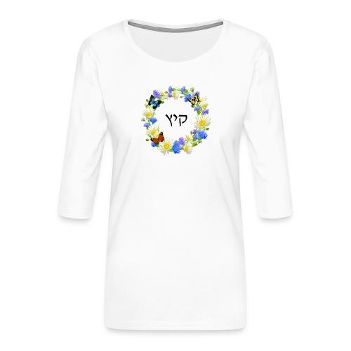 Corona floral verano, hebreo - Camiseta premium de manga 3/4 para mujer