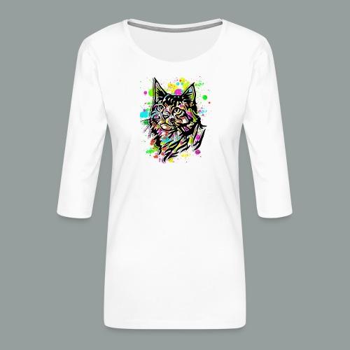 Bunte Katze - Frauen Premium 3/4-Arm Shirt