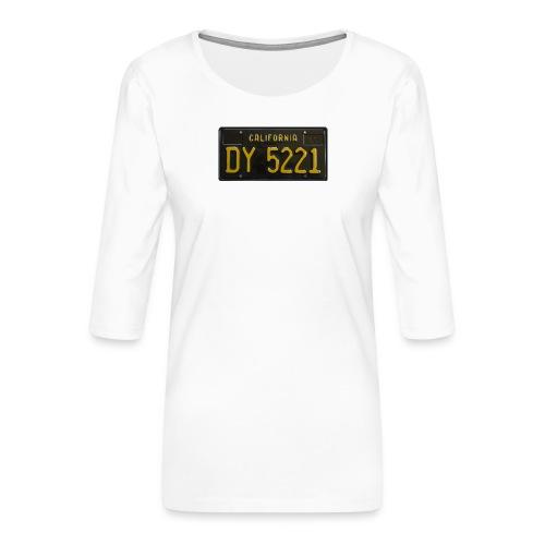 CALIFORNIA BLACK LICENCE PLATE - Women's Premium 3/4-Sleeve T-Shirt