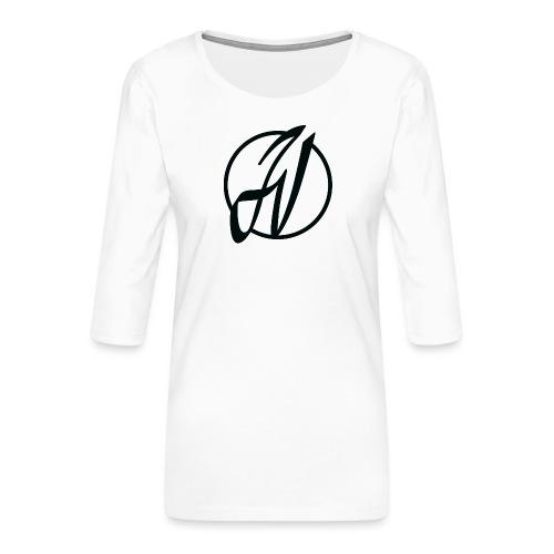 JV Guitars - logo noir - T-shirt Premium manches 3/4 Femme