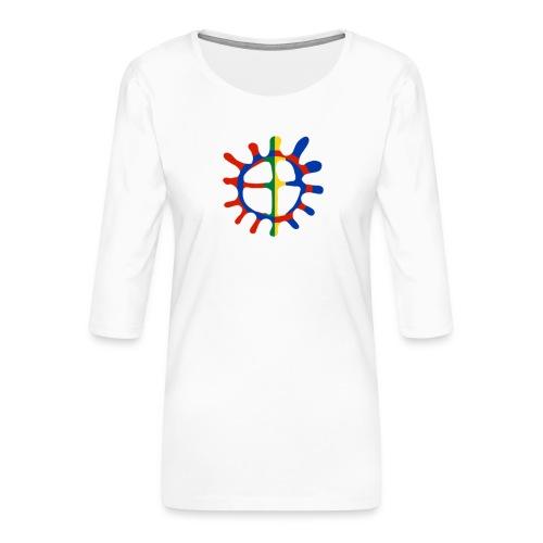 Samisk sol - Premium T-skjorte med 3/4 erme for kvinner