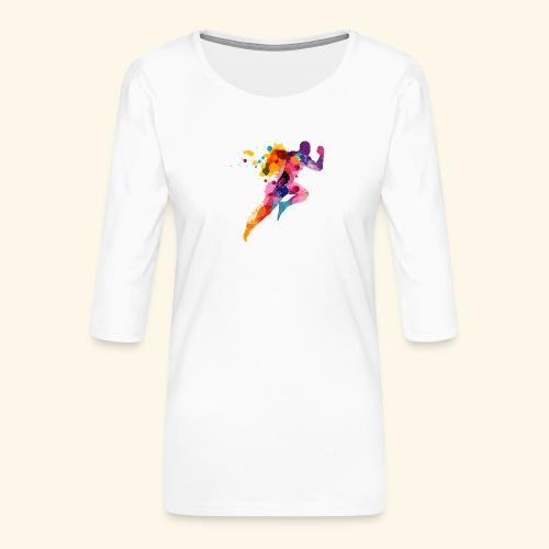 Running colores - Camiseta premium de manga 3/4 para mujer
