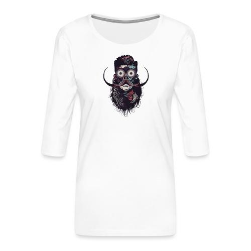 hipster tete de mort crane barbu skull moustache b - T-shirt Premium manches 3/4 Femme