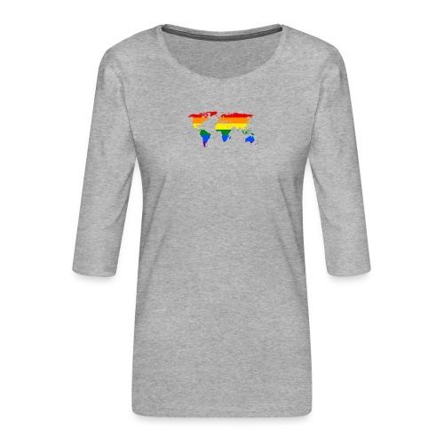 HBTQ WORLD - Premium-T-shirt med 3/4-ärm dam