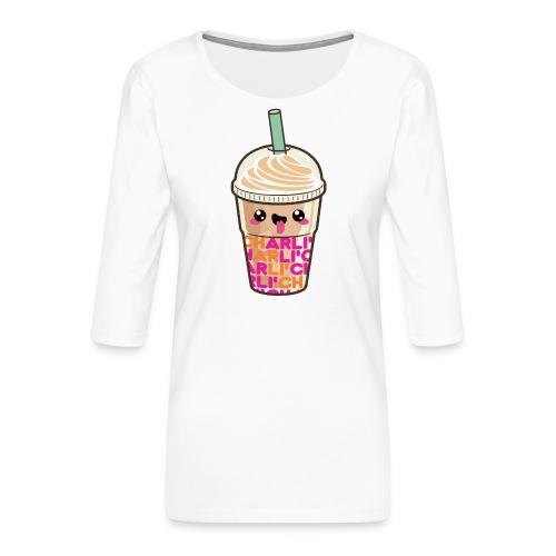 00411 Iced Coffee Charli Damelio - Camiseta premium de manga 3/4 para mujer