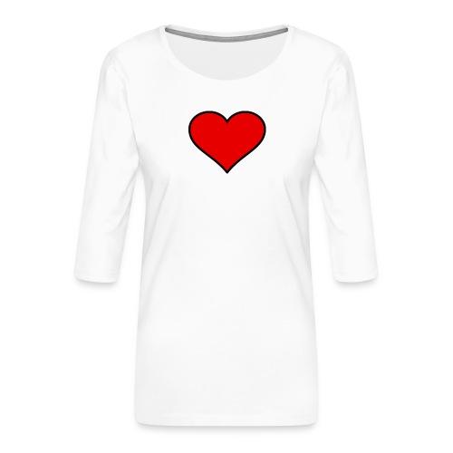 big heart clipart 3 - Premium-T-shirt med 3/4-ärm dam
