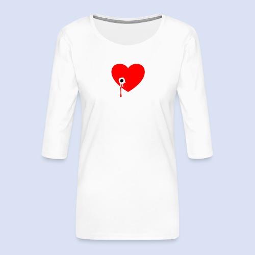 Cœur troué - T-shirt Premium manches 3/4 Femme