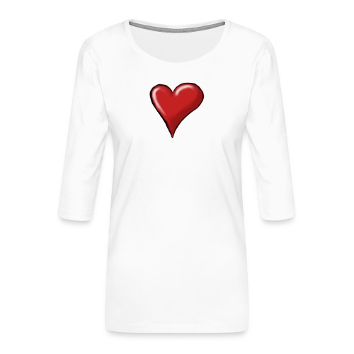 Love (coeur) - T-shirt Premium manches 3/4 Femme