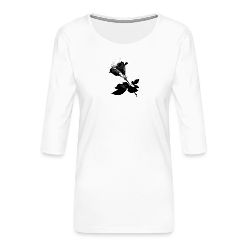 Black and White Rose Bundle - Women's Premium 3/4-Sleeve T-Shirt