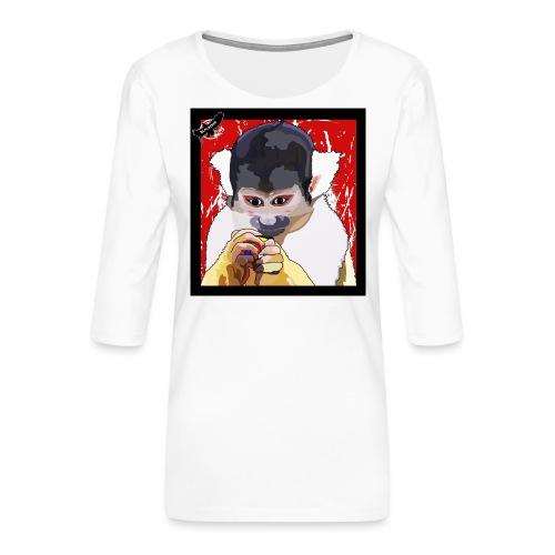 'Clever Monkey 2' by BlackenedMoonArts, w. logo - Dame Premium shirt med 3/4-ærmer