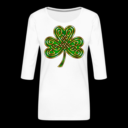 Celtic Knotwork Shamrock - Women's Premium 3/4-Sleeve T-Shirt
