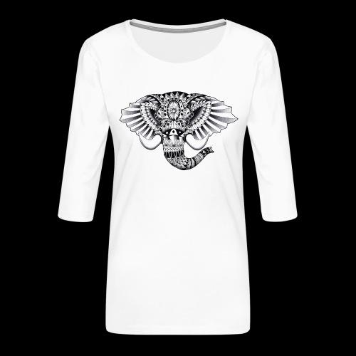 Elephant Ornate Drawing - Maglietta da donna premium con manica a 3/4