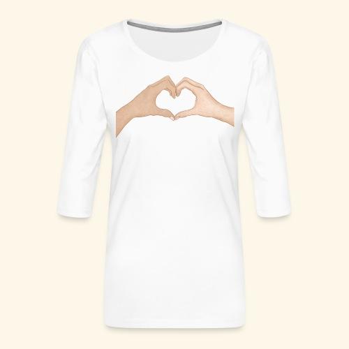 Mains Coeur Amour - Love hands - T-shirt Premium manches 3/4 Femme
