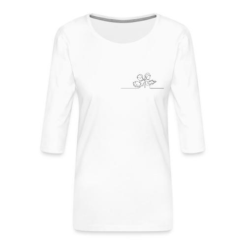 Læsende børn - Dame Premium shirt med 3/4-ærmer
