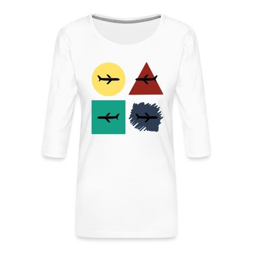 Airlines - Camiseta premium de manga 3/4 para mujer