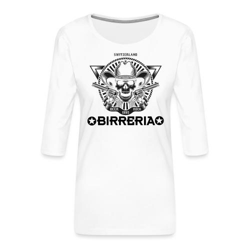 Sheriff Skull with Revolver - Frauen Premium 3/4-Arm Shirt