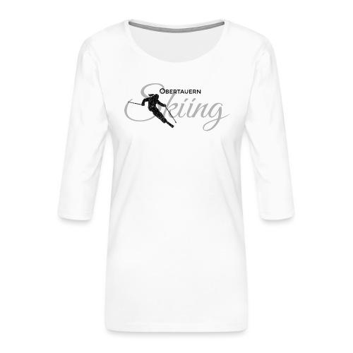 Obertauern Skiing (Grau) Apres-Ski Skifahrerin - Frauen Premium 3/4-Arm Shirt
