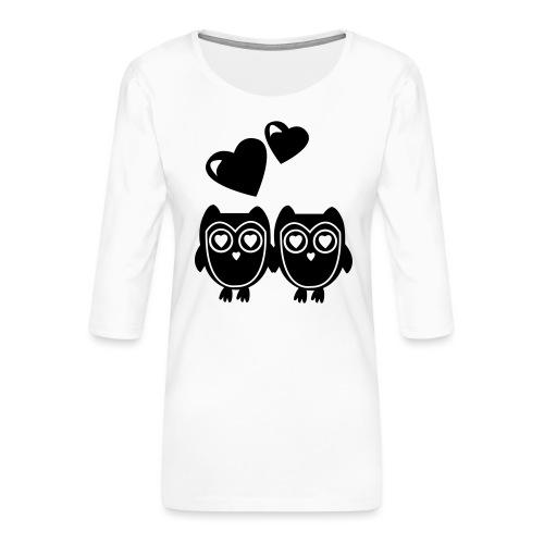 verliebte Eulen - Frauen Premium 3/4-Arm Shirt