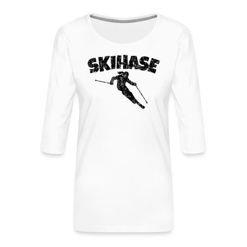 Skihase (Vintage/Schwarz) Ski Skifahrerin - Frauen Premium 3/4-Arm Shirt