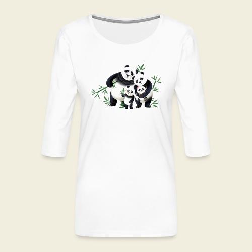 Pandafamilie zwei Kinder - Frauen Premium 3/4-Arm Shirt