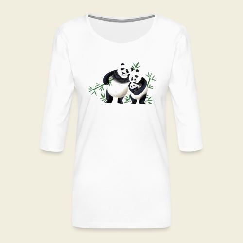 Pandafamilie Baby - Frauen Premium 3/4-Arm Shirt