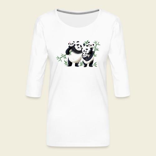 Pandafamilie drei Kinder - Frauen Premium 3/4-Arm Shirt