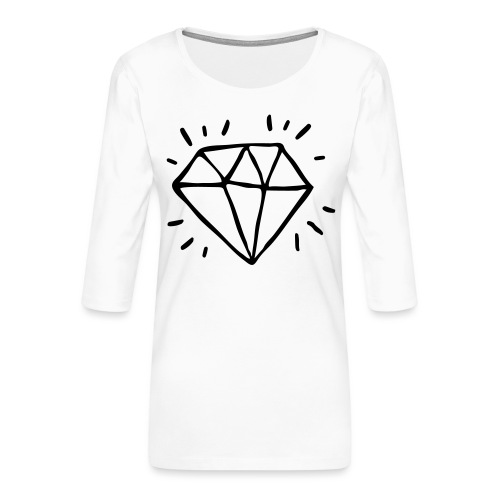 diamant - T-shirt Premium manches 3/4 Femme