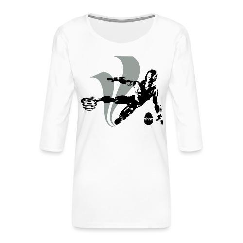 Football Robot - Maglietta da donna premium con manica a 3/4