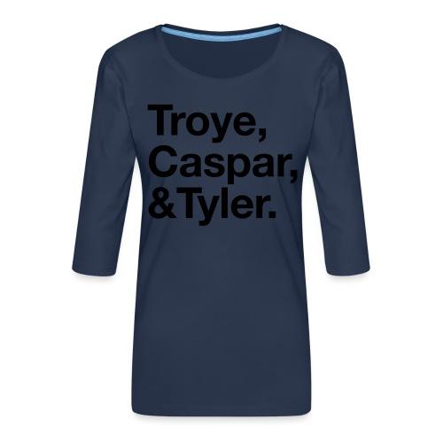 TROYE CASPAR AND TYLER - YOUTUBERS - Maglietta da donna premium con manica a 3/4
