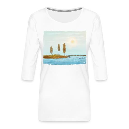 Couleurs d'automne en Laponie - T-shirt Premium manches 3/4 Femme