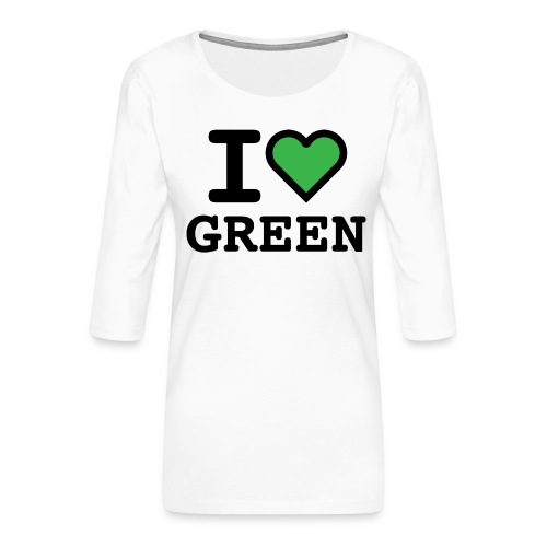 i-love-green-2.png - Maglietta da donna premium con manica a 3/4