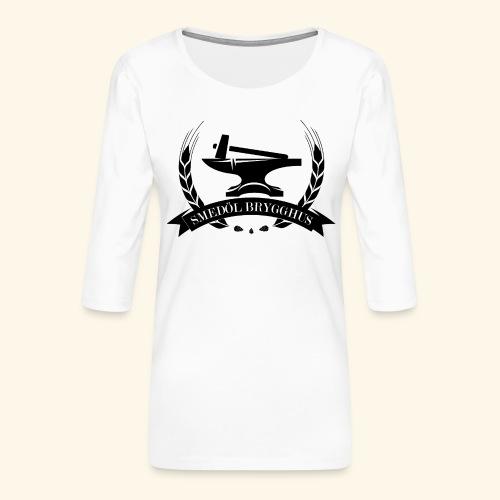 Smedöl Brygghus Logga Svart - Premium-T-shirt med 3/4-ärm dam
