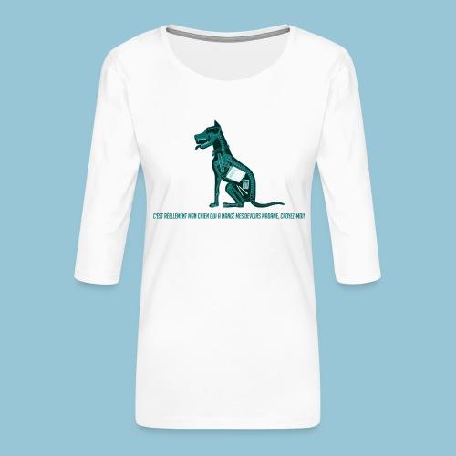 T-shirt femme imprimé Chien au Rayon-X - T-shirt Premium manches 3/4 Femme