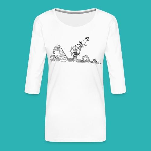 Carta_timone-png - Maglietta da donna premium con manica a 3/4