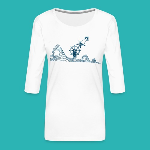 Carta_timone_blu-png - Maglietta da donna premium con manica a 3/4