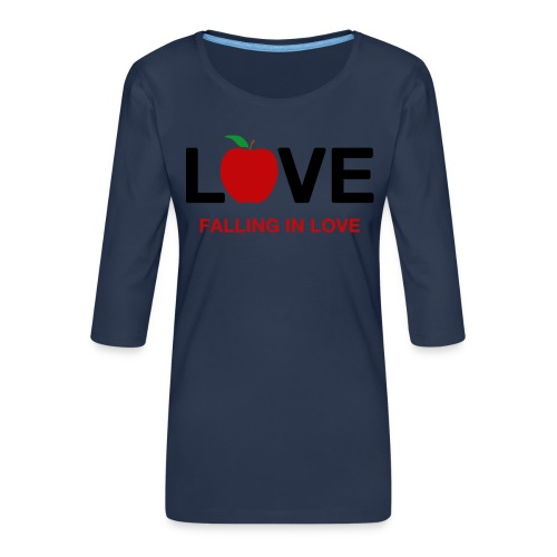 Falling in Love - Black - Women's Premium 3/4-Sleeve T-Shirt