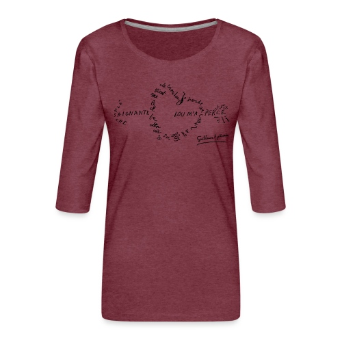 calligramme_fleche_saignante - T-shirt Premium manches 3/4 Femme