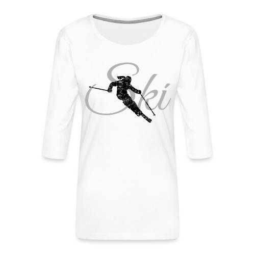 Ski Skier (Schwarz/Grau) Skifahren Skifahrerin - Frauen Premium 3/4-Arm Shirt