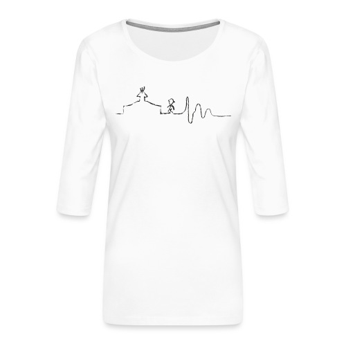 SCOUT.beat – Herzschlag Zelt & Mensch – Schwarz - Frauen Premium 3/4-Arm Shirt