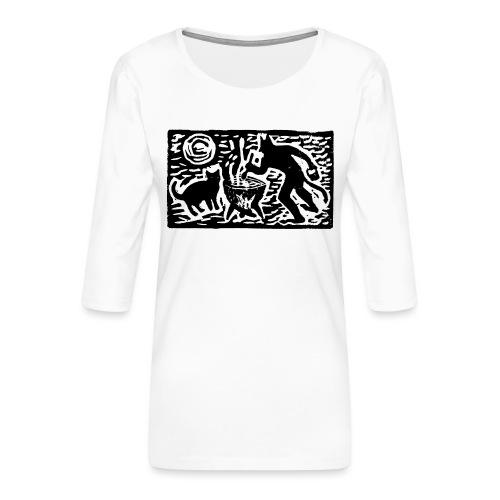 Teufel mit Katze - Frauen Premium 3/4-Arm Shirt