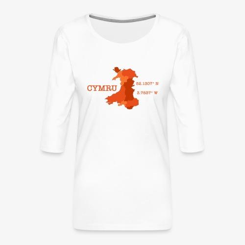 Cymru - Latitude / Longitude - Women's Premium 3/4-Sleeve T-Shirt