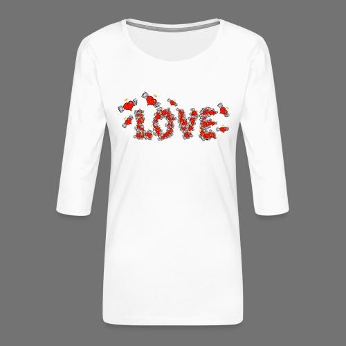 Latające miłości serc - Koszulka damska Premium z rękawem 3/4