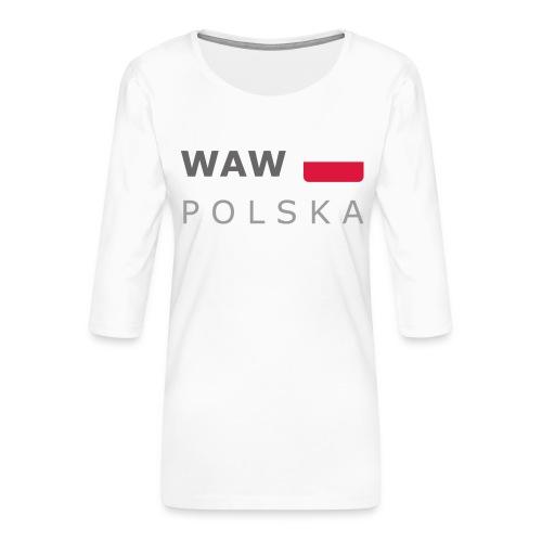 WAW POLSKA dark-lettered 400 dpi - Women's Premium 3/4-Sleeve T-Shirt